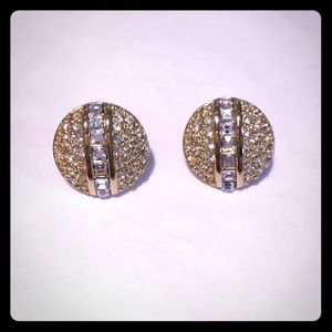 Sparkling Dior pave crystal earrings w/14k posts
